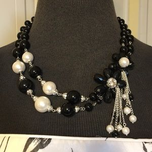 Black and White Necklace with Flower Accents